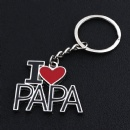 i love papa heart-shaped zinc alloy key chain pendant